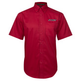 Red Twill Button Down Short Sleeve-Stags