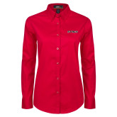 Ladies Red Twill Button Down Long Sleeve-Stags