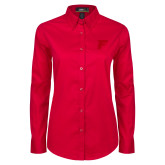 Ladies Red Twill Button Down Long Sleeve-F Tone