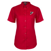 Ladies Red Twill Button Up Short Sleeve-F