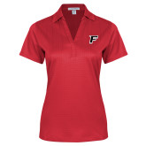 Ladies Red Performance Fine Jacquard Polo-F