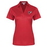 Ladies Red Performance Fine Jacquard Polo-F