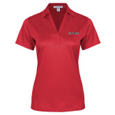 Ladies Red Performance Fine Jacquard Polo-Stags