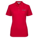 Ladies Easycare Red Pique Polo-Stags