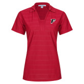 Ladies Red Horizontal Textured Polo-F