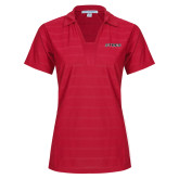 Ladies Red Horizontal Textured Polo-Stags