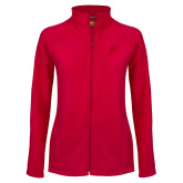 Ladies Fleece Full Zip Red Jacket-F Tone