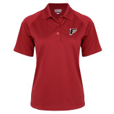 Ladies Red Textured Saddle Shoulder Polo-F