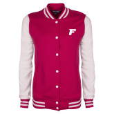 Ladies Pink Raspberry/White Fleece Letterman Jacket-F Tone