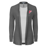 Ladies Heather Grey Open Front Cardigan-F