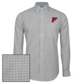 Mens Charcoal Plaid Pattern Long Sleeve Shirt-F