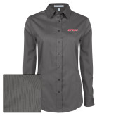 Ladies Grey Tonal Pattern Long Sleeve Shirt-Stags