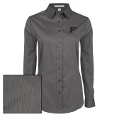 Ladies Grey Tonal Pattern Long Sleeve Shirt-F Tone