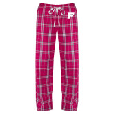 Ladies Dark Fuchsia/White Flannel Pajama Pant-F Tone