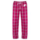 Ladies Dark Fuchsia/White Flannel Pajama Pant-F Tone