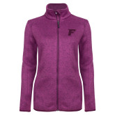 Dark Pink Heather Ladies Fleece Jacket-F Tone