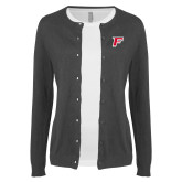 Ladies Charcoal Cardigan-F