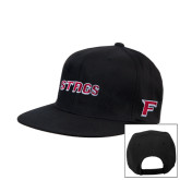 Black Flat Bill Snapback Hat-Stags