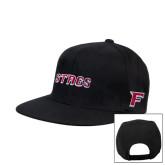 Black Flat Bill Snapback Hat-Stags