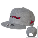 Heather Grey Wool Blend Flat Bill Snapback Hat-Stags