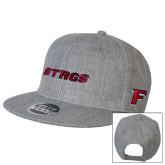 Heather Grey Wool Blend Flat Bill Snapback Hat-Stags