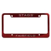Metal Red License Plate Frame-Stags