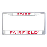 Metal License Plate Frame in Chrome-Stags