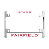 Metal Motorcycle License Plate Frame in Chrome-Stags