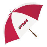 62 Inch Red/White Vented Umbrella-Stags