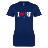 Next Level Ladies SoftStyle Junior Fitted Navy Tee-I Heart FAU