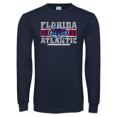 Navy Long Sleeve T Shirt-Block Distressed