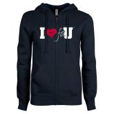 ENZA Ladies Navy Fleece Full Zip Hoodie-I Heart FAU