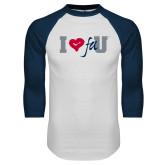 White/Navy Raglan Baseball T Shirt-I Heart FAU