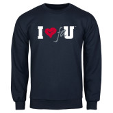 Navy Fleece Crew-I Heart FAU