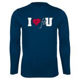 Performance Navy Longsleeve Shirt-I Heart FAU