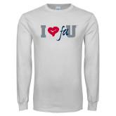 White Long Sleeve T Shirt-I Heart FAU