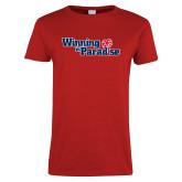 Ladies Red T Shirt-Winning in Paradise