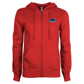 ENZA Ladies Red Fleece Full Zip Hoodie-Mascot