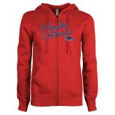 ENZA Ladies Red Fleece Full Zip Hoodie-Fancy Script