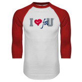 White/Red Raglan Baseball T Shirt-I Heart FAU
