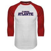 White/Red Raglan Baseball T Shirt-Wordmark