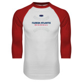 White/Red Raglan Baseball T Shirt-Baseball Seams