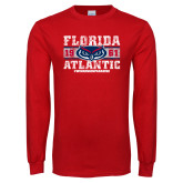 Red Long Sleeve T Shirt-Block Distressed
