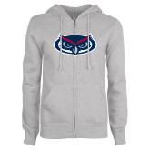 ENZA Ladies Grey Fleece Full Zip Hoodie-Mascot
