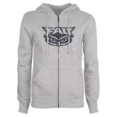 ENZA Ladies Grey Fleece Full Zip Hoodie-F Graphite Soft Glitter