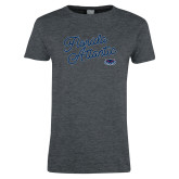Ladies Dark Heather T Shirt-Fancy Script
