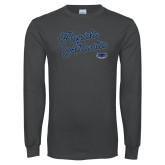 Charcoal Long Sleeve T Shirt-Fancy Script