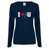 Ladies Navy Long Sleeve V Neck Tee-I Heart FAU