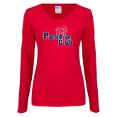 Ladies Red Long Sleeve V Neck Tee-Paradise Club