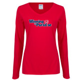 Ladies Red Long Sleeve V Neck Tee-Winning in Paradise